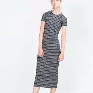 Zara black white stripe ribbed bodycon midi dress